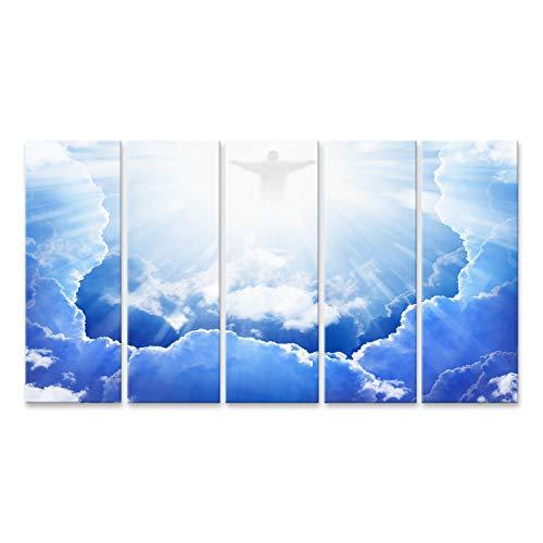 islandburner Cuadro en Lienzo Jesucristo en el Cielo Azul con Nubes Luz Brillante del Cielo Resurrección Pascua Cuadros Modernos Decoracion Impresión Salon
