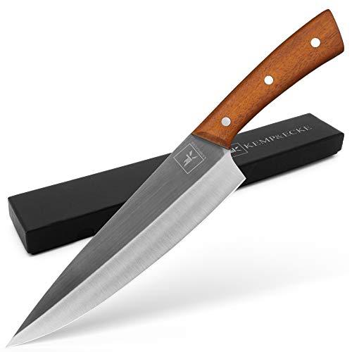 Kemp&Ecke Profi Küchenmesser 8 Zoll Kochmesser Chefmesser aus Edelstahl mit einem Holzgriff, Profi Köche Messer mit Naturholz Griff und breiter Klinge