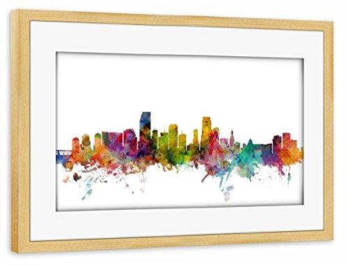 artboxONE Poster mit Rahmen Kiefer 75x50 cm Miami Florida Watercolor von Michael Tompsett - gerahmtes Poster
