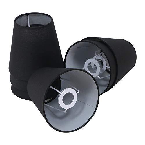 "Eastlion 6er Pack 5.5\"" E14 Flachs Kerze Kronleuchter Lampenschirm Wandleuchte Pendelleuchte Lampenschirme,Schwarz"