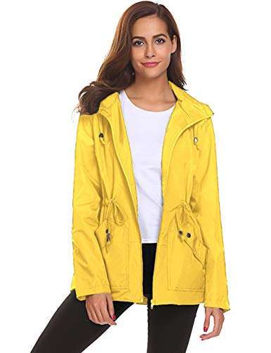 LOMON Women Rain Jacket,Windbreaker Travel Hiking Raining Wear Soft Shell Wind Coat