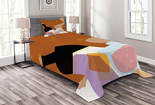 ABAKUHAUS Merlot Couvre-Lit, Rose Bouteille de vin Cartoon, Lavable sans décoloration des Couleurs, 170 x 220 cm, Multicolor Cannelle