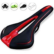 IPSXP Most Comfortable Bike Seat, Mens Padded Bicycle Saddle with Soft Cushion - Improves Comfort for Mountain Bike, Hybrid and Stationary Exercise Bike