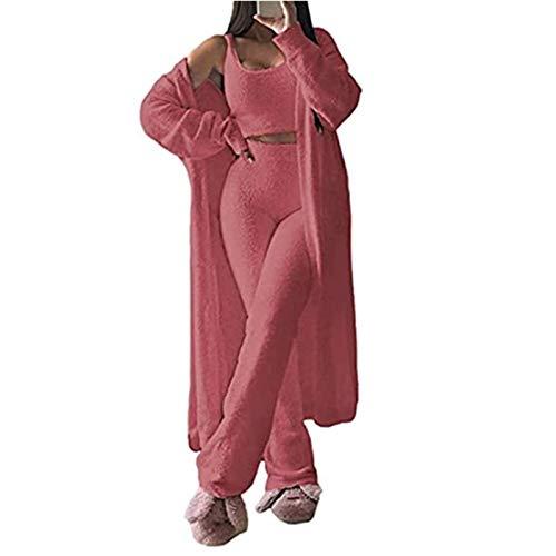 GMRZ Frauen Fuzzy Pyjamas Set, Sexy Fleece 3 Stück Outfits Trainingsanzug Soft Open Front Cardigan Und Wide Legs Pants Lounge-Sets,Pink 3 Piece,S
