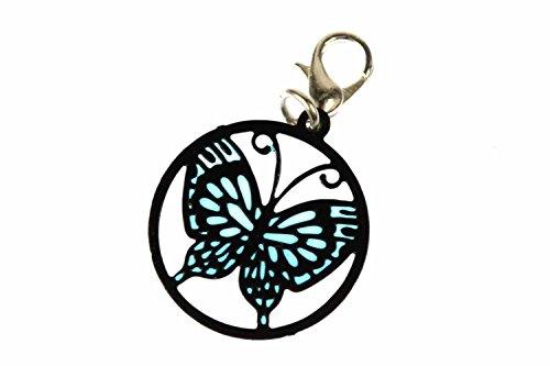 Miniblings Schmetterling Charm Traumfänger Fensterbild - Handmade Modeschmuck I Kettenanhänger versilbert - Bettelanhänger Bettelarmband - Anhänger für Armband