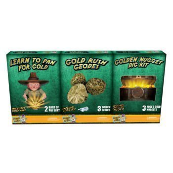 Discover with Dr. Cool 3 Pack Geology Science Kit - Gold Panning + Geodes + Dig for Golden Nuggets