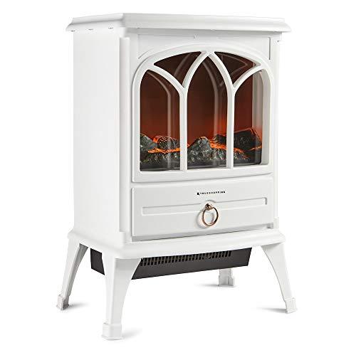 Trueshopping Calefactor Chimenea Eléctrico - Moderno Calefactor de 1800 Vatios con Intenso Efecto de Leña Ardiendo, 2 Modos de Calefacción y Control de Termostato - 50Cm de Ancho (Crema)