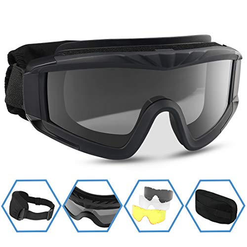 XAegis Airsoft Goggles, Tactical Safety Goggles Anti Fog Military Eyewear with 3...