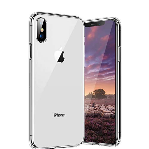 Whew Crystal Clear iPhone X Hülle/iPhone XS Hülle, [Transparent Anti-Gelb] Hard PC Back & Soft Silikon Ultra Hybrid iPhone X Handyhülle Durchsichtig Silikon iPhone XS Case Schutzhülle