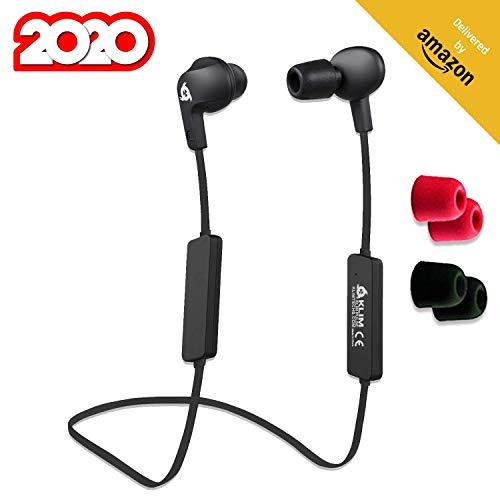 KLIM Pulse Bluetooth 4.1 In-Ear Kopfhörer - Neue 2020 - Kabellose Kopfhörer – Geräuschreduzierung – Perfekt für Sport, Musik, Anrufe, Gaming, etc. Magnetisch + Neue Memory Schaum Ohrstöpsel Schwarz