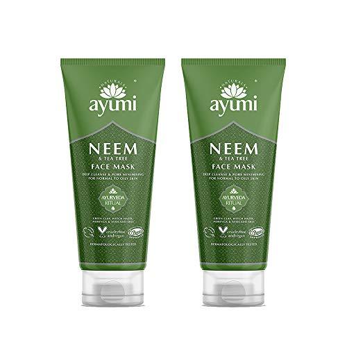 Ayumi Neem & Tea Tree Face Mask. Vegan, Cruelty-Free, Dermatologically-Tested, 2 x 100ml