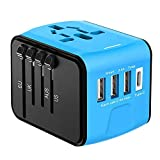 AILUNER Travel Adapter,Universal Power Adapter Type-C Wall Charger with 3.4A High Speed 4USB Port Worldwide Plug Converter AC Power Outlet Mult Adapter for UK Europe AU Asia Italy (Blue) (Blue)