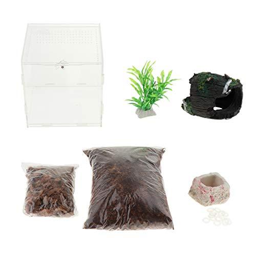 SM SunniMix Terrarium mit Bodensubstrat, künstlicher Pflanze, Futterschale und Deko für Reptilien Schildkröten Spinnen Schlangen Geckos Frösche - mit Eimer