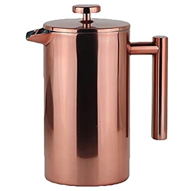 LA JOLIE MUSE French Press Coffee Maker Copper Finish with 2 Extra Screen Filters, 34 OZ Double Walled Insulated Stainless Steel, Stylish Design