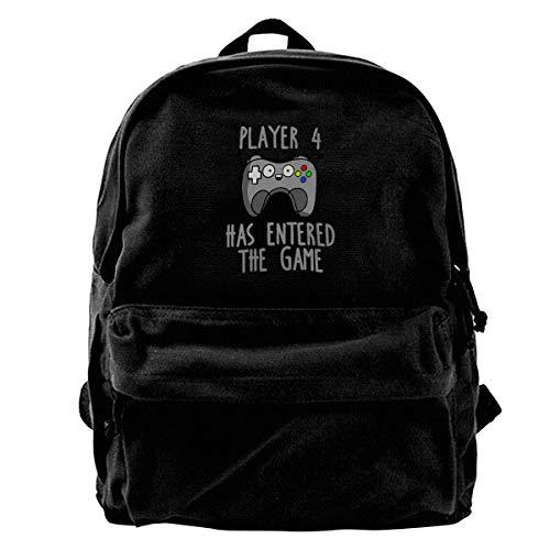 NJIASGFUI Sac à dos en toile Player 4 Has Entered Game Sac à dos de gym, randonnée, ordinateur portable, sac à bandoulière pour homme et femme