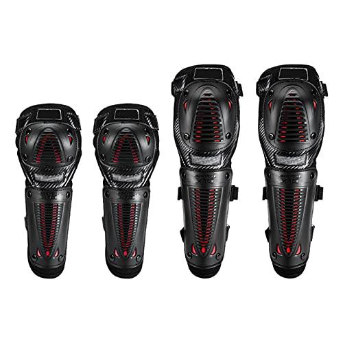 4 piezas de motocicleta, ciclismo, codo, rodilleras, protección de motocross, espinilleras, conjunto de armadura, negro para adultos, negro