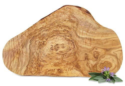Figura Santa Olivenholzbrett Organic Rustikales Servierbrett - Holzbrett - Schneidebrett. Fein gemasertes Olivenholz teilweise mit Rindenrand. Circa 30 x 18 cm.