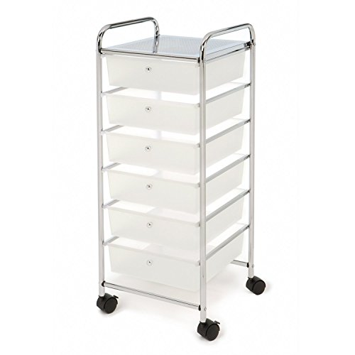 Seville Classics Large 6-Drawer Multipurpose Mobile Rolling Utility Storage Bin Organizer Cart, White
