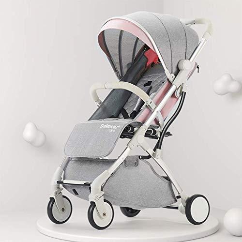 AYDQC Carrito de Aluminio para bebé, Cochecito Ligero, Cochecito, Cochecito de Cochecito Compacto Compacto, arnés de 5 Puntos y Canasta de Alto Almacenamiento (Color: Rosa) fengong (Color : Pink)