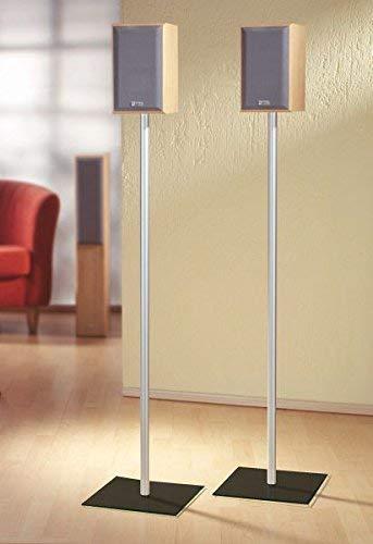 """VCM 2x Surroundstand Stand Alu Halterung Glas Standfuss Boxenständer Lautsprecher Ständer Schwarzglas \""""Sulivo Maxi\"""""""