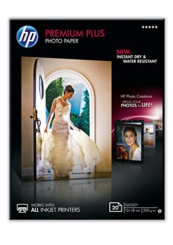 HP CR676A Premium Plus Glossy Photo Paper, Confezione da 20 Fogli di Carta Fotografica Lucida, Originali HP, Compatibile con Stampanti a Getto di Inchiostro, 13 x 18 cm, Grammatura 300 g/m², Bianca
