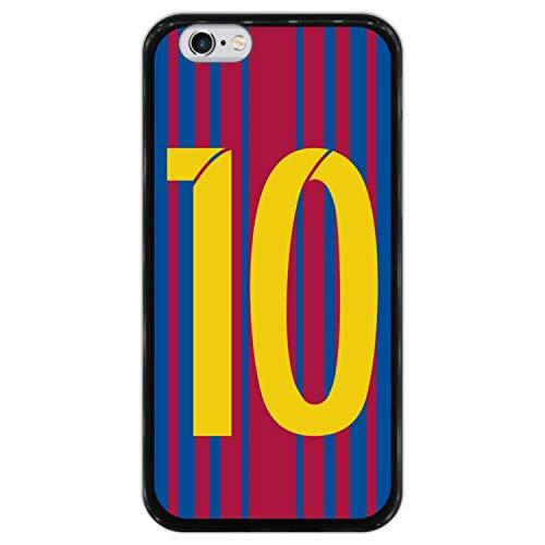 Hapdey Funda Negra para [ iPhone 6 6S ] diseño [ Ilustración fútbol, número 10 ] Carcasa Silicona Flexible TPU