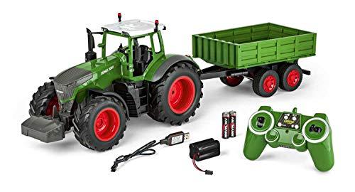 Carson 500907314 - 1:16 RC Traktor mit Anhänger 100% RTR, Ferngesteuertes Fahrzeug, Baufahrzeug mit Funktionen Licht und Sound, inkl. Batterien und Fernsteuerung, grün