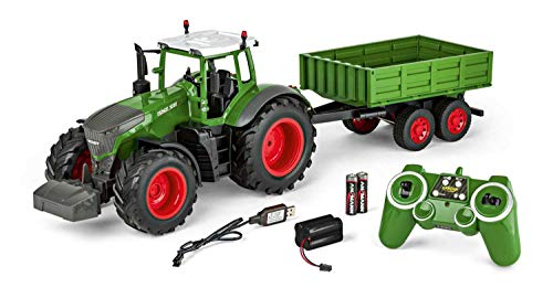 Carson 500907314 - 1:16 RC tractor met aanhanger 100% RTR, afstandsbediening voertuig, bouwvoertuig met functies licht en geluid, incl. batterijen en afstandsbediening, groen