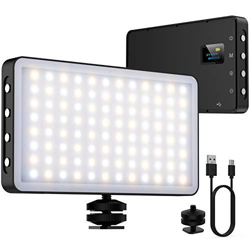 NinkBox Luce Video LED 3000K-6500K Dimmerabile, Luce di Riempimento con Luminosità Regolabile 5%-100%, CRI 95+, Luce Fotografica LED Portatile da 4000 mAh per videocamere DSLR, Fotografia
