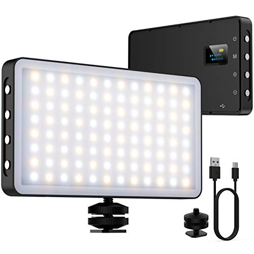 NinkBox Luz LED Cámara, luz de vídeo, 96 LED Regulables superluminosos 3000K-6500K, CRI 95+, lámpara de luz fotográfica portátil para videocámaras DSLR, fotografía, batería incorporada de 4000 mAh