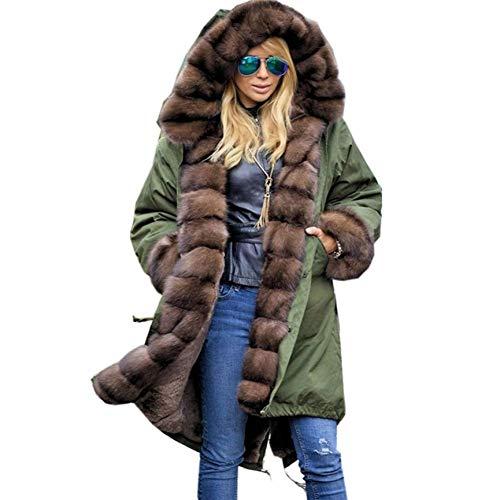 SHANGYI dames kunstbont winterjas jas met capuchon lange mouwen mantel katoenen mantel