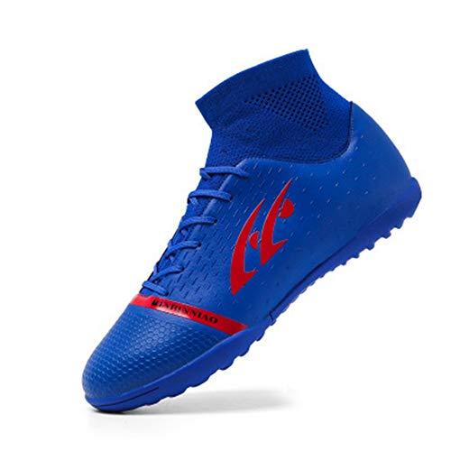 Zapatos de fútbol Hombre Uñas rotas Estudiantes de Primaria Niños Adolescentes Niños Zapatos de Entrenamiento de césped Artificial Transpirables Azul 35 2.5
