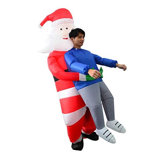 Amosfun Disfraz inflable de Pap Noel para nios adultos trajes ilusin de alguien que te lleva divertido traje de Santa Fantasa sin batera