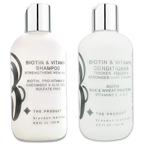 Biotin Vitamin Haarwuchs Shampoo & Conditioner SET- (hochwirksam) Biotin Shampoo + Conditioner Set für schnellstes Haarwachstum, Vitamine E, A und C (8.5oz)