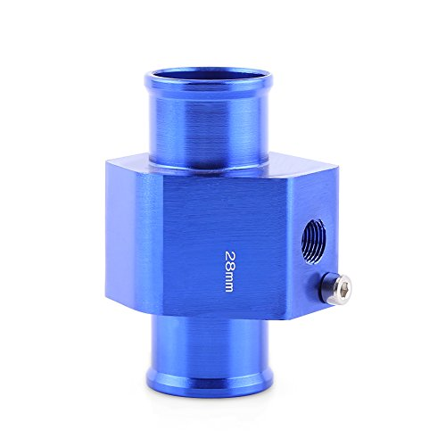 Universal Water Temp Joint Pipe, Keenso Aluminum Water Temp Temperature Joint Pipe Sensor Gauge Radiator Hose Adapter, Blue 26mm - 40mm (28mm)