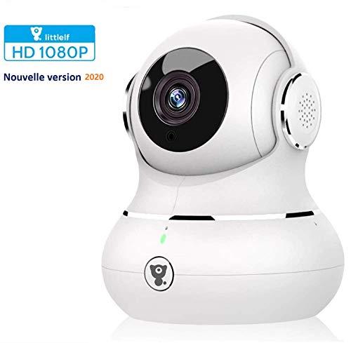 IP-camera, Full HD 1080P Littlelf, monitor 350° horizontaal en 105° verticaal, besturing via app, 3D panorama-camera, bewegingsdetectie, bewaking op afstand voor baby's, dieren, huis Wit.