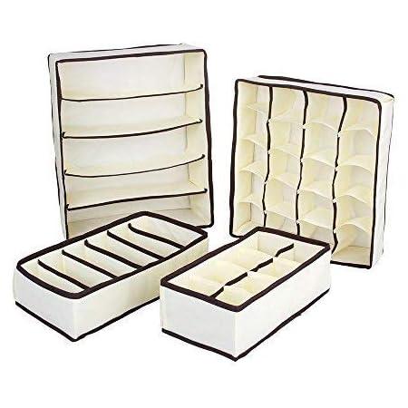 MIU COLOR 収納ボックス 収納ケース 引き出し仕切り 4点セット 総計39ボックス 折り畳み(ベージュ)