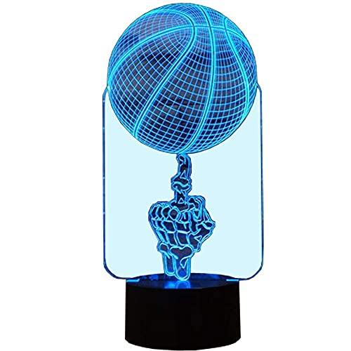 Lámpara de luz nocturna de baloncesto creativa 3D 7 cambio de color LED táctil USB Mesa de regalo Juguetes para niños Decoraciones Decoraciones Regalo del día de San Valentín Regalo de cumpleaños