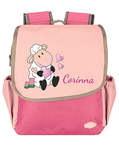 Mein Zwergenland Kindergartenrucksack Happy Knirps NEXT mit Name Schaf, 6L, Pink