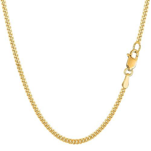 Catena a maglia barbazzale, oro massiccio 750, 18carati, diamantata–larghezza 2mm–unisex, Oro giallo, cod. Gourmette Y 2 mm