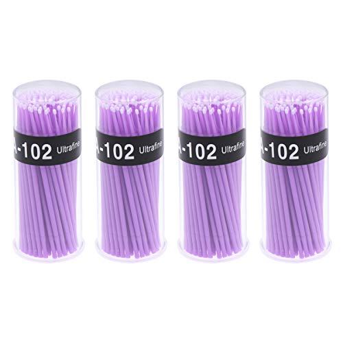 400pcs 2mm brosse à cils jetable extension micro écouvillons baguettes (violet)