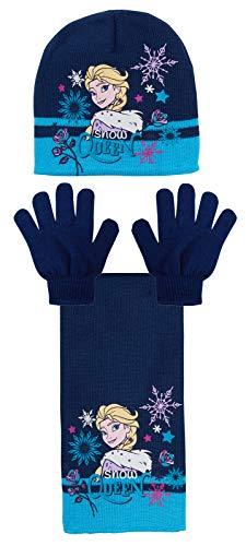 Disney Frozen - Set Invernale Composto da Cappello, Sciarpa e Guanti, 2 o 3 Pezzi 3 Pezzi – Blu. 54 cm