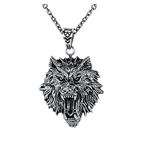 XKUN Collar de Cabeza de Lobo Retro, Accesorio Colgante de Acero Inoxidable para Hombre, Regalo de cumpleaños de la Tarjeta del día de San Valentín-Default