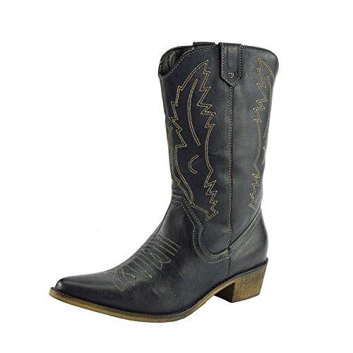 Damen Western Leder Cowboy Stiefel Spitz Zehen Damen Breite Kalb Stiefel - UK 6 / EU 39, Schwarz