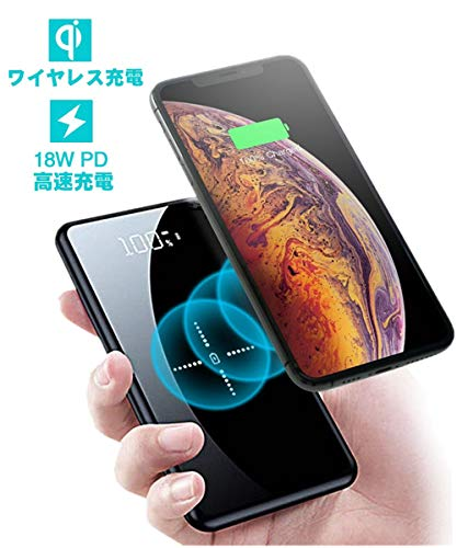 Lakko モバイルバッテリー 大容量 20000mAh iphone Galaxy Xperia ワイヤレス充電 Qi ガラス画面 実効容量 ...