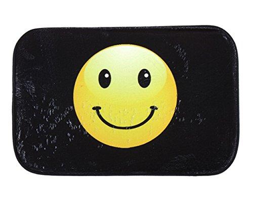 iHome Felpudo de terciopelo coral, 40 x 60 cm, diseño de emoticono sonriente, color negro