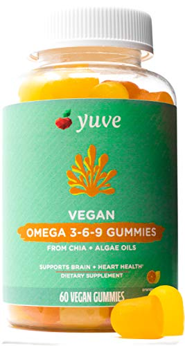 Yuve Vegan Omega 3-6-9 & DHA Gummies - Delicious for Kids, Men & Women - Made from Algae & Chia - NO Fish Oil, NO Krill - Essential Fatty Acid Supplement - Non-GMO, Gluten-Free, Plant-Based - 60ct