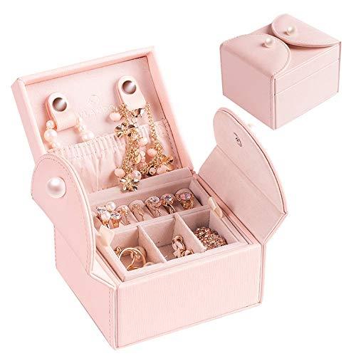 Drametree Boîte à bijoux compacte double couche bijoux de stockage portable Boîte à bijoux en bois Boîte européenne main Noël Tanabata Saint Valentin cadeau de Noël en poudre