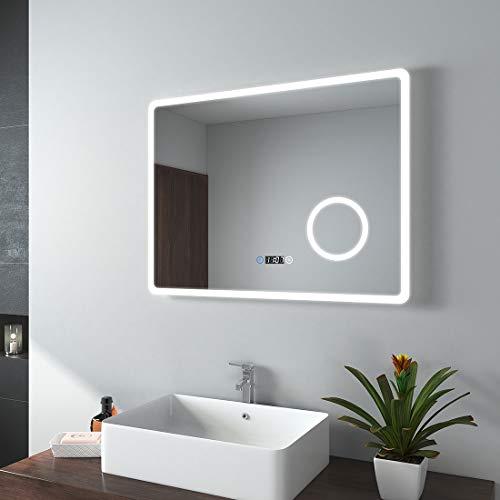 EMKE LED Badspiegel 80x60cm Badezimmerspiegel mit Beleuchtung 3 Lichtfarbe 3000-6400K kaltweiß Neutral Warmweiß Lichtspiegel Badezimmerspiegel Wandspiegel mit Touchschalter mit Uhr IP44 energiesparend