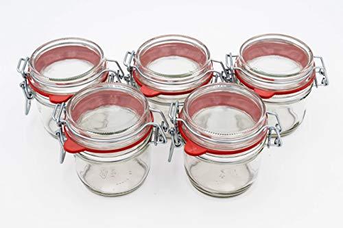 Flaschenbauer- 5 Drahtbügelgläser 255ml verwendbar als Einmachglas, zu Aufbewahrung, kleine Gläser zum Befüllen, Leere Gläser mit Drahtbügel
